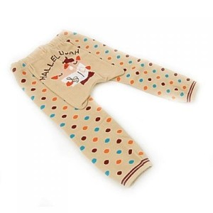 Generic Beige Poly Cotton Polka Printed Tights for Kids
