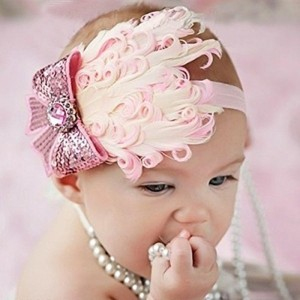 Generic Pink Polyester Spandex Feather Baby Headband