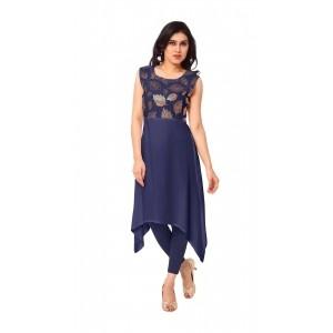 Ahalyaa Blue Colored Sleeveless And Round Neck Kurti