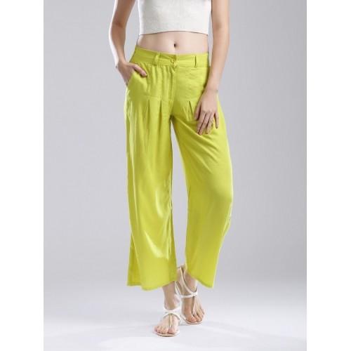 W Women Lime Green Palazzo Trousers