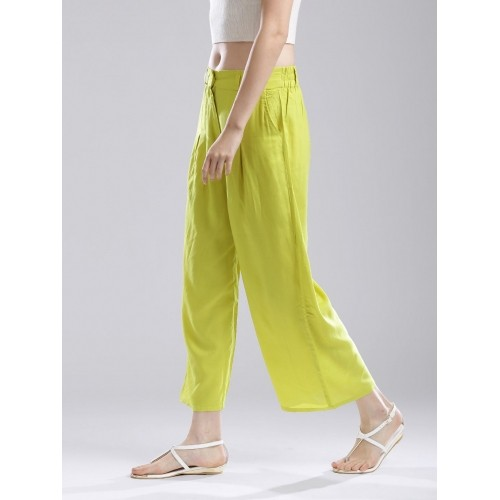 d1399b472a6dc3 Buy W Women Lime Green Palazzo Trousers online   Looksgud.in
