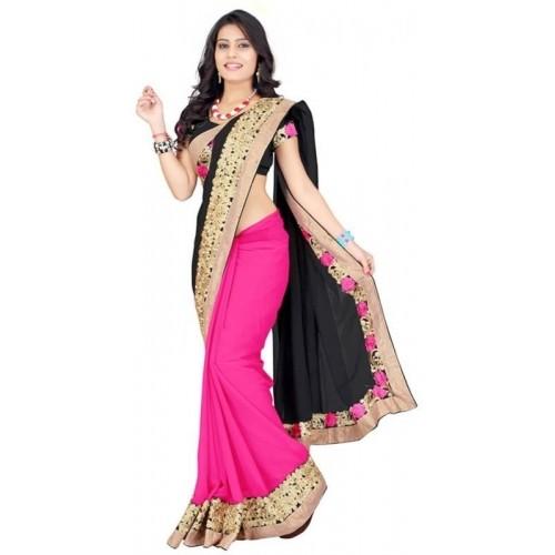 Kuki Fashion Black & Pink Chiffon Georgette Embroidered Saree