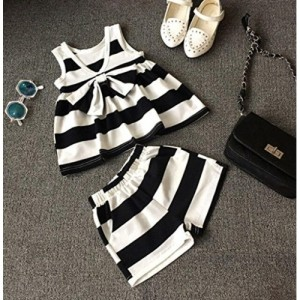 Generic Imported Black and White Stripes Sleeveless Outfit
