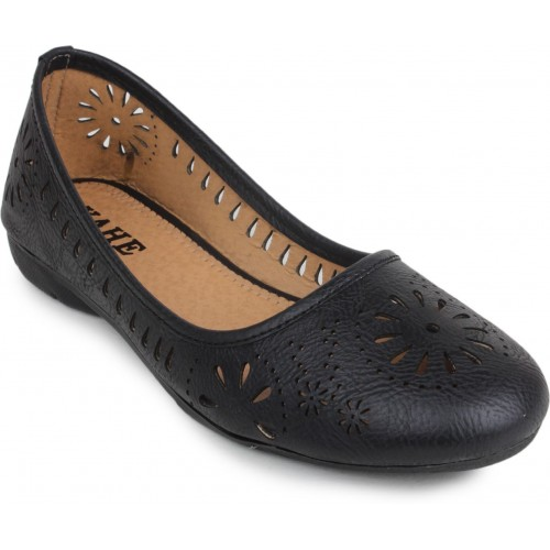 Yahe Black Faux Leather Bellies For Women
