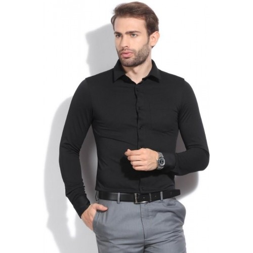 Buy Arrow New York Men's Solid Formal Black Shirt online | Looksgud.in