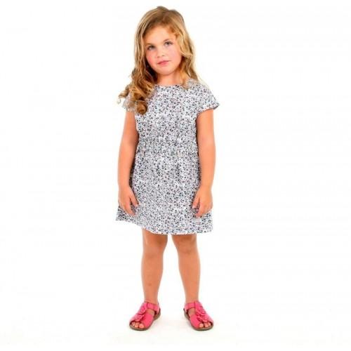 Cherry Crumble California Gray Cotton Dress