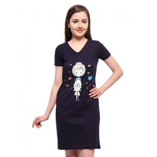 e388dc1dc9 Buy Slumber Jill Navy Cotton Night Shirts online