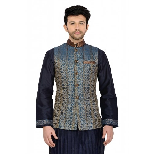 Manyavar Blue Trendy Nehru Jacket For Men