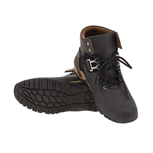 T-Rock Black Synthetic Lace Up Mid Ankle Boots