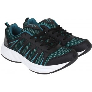Aero Blue & Black Synthetic Leather Running Shoes
