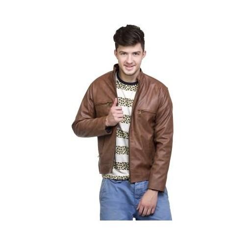 Lambency Brown Full Sleeve Solid Mens Motorcycle Jacket