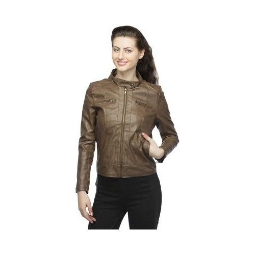 Lambency Brown Full Sleeve Solid Womens Biker Jacket