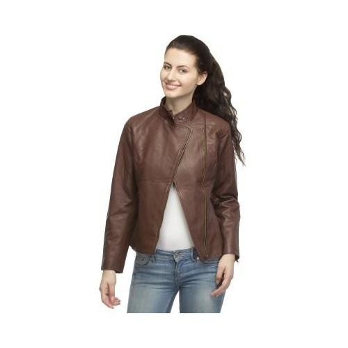 Lambency Brown Full Sleeve Solid Womens Biker Jacket