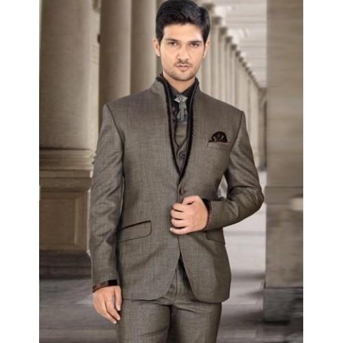 Buy Brown Party Wear Terry Rayon 3 Pic Plain Mens Coat Suit online