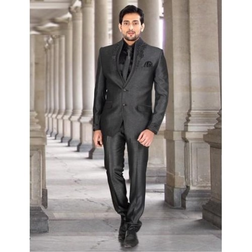 Buy Grey Terry Rayon Plain 2 Button Party Wear Mens Coat Suit