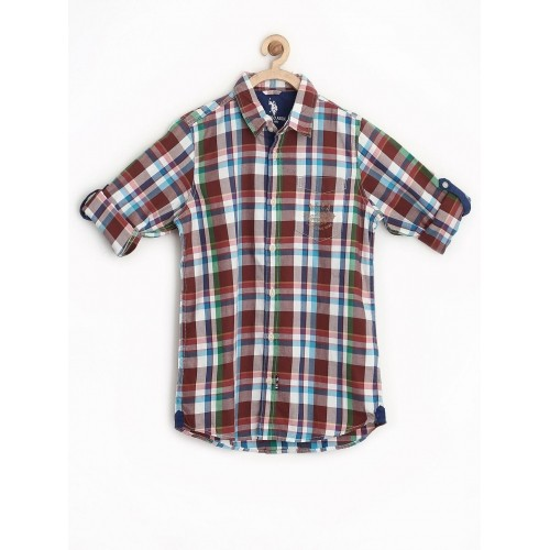U.S. Polo Assn. Kids Boys Brown Checked Shirt
