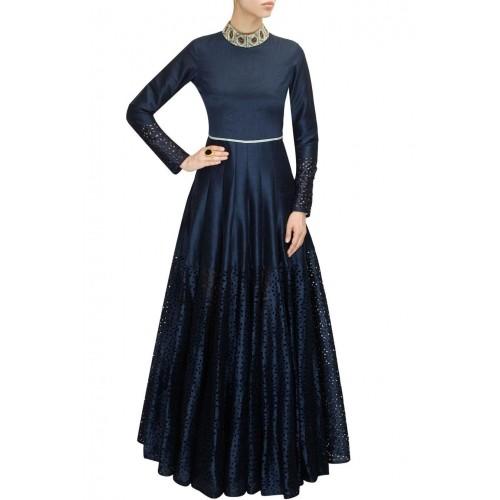 77d3cc5ffaa2 Buy Fabron Black Cutwork Silk Full Sleeves Solid Gown online ...