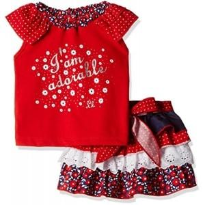 Little Kangaroos Red Printed Clothing Set