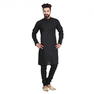 Sojanya Black Solid Cotton Linen blend Kurta Pyjama