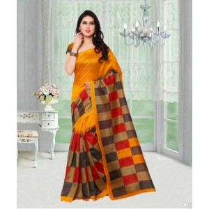 VIstaar Creation Yellow Bhagalpuri Silk Printed Saree With Blouse
