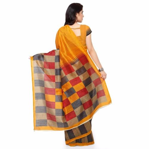 VIstaar Creation Yellow Bhagalpuri Silk Printed Saree With Blouse