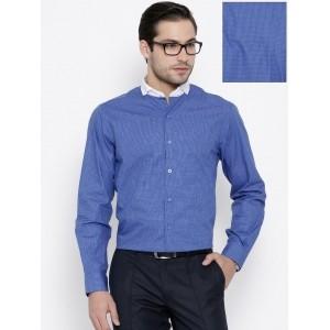 John Players Blue Checked Slim Smart Casual Shirt