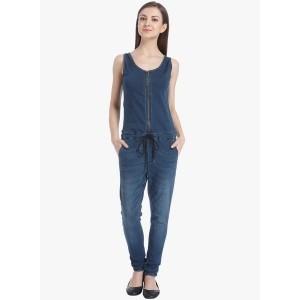 Only Blue Cotton Spandex Solid Jumpsuit