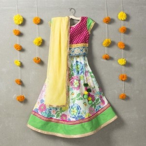 Sorbet Multicolor Cotton Printed Brocade Lehenga Choli Set