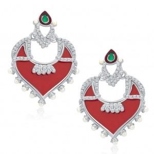 Sukkhi Divine Rhodium Plated Earrings For Women