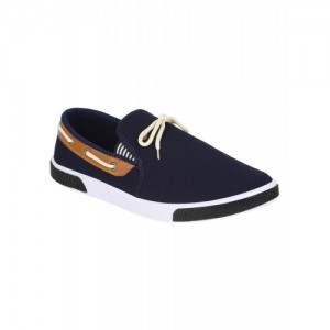Oricum 417 Blue Canvas Lace Up Casual Loafers