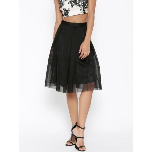 FOREVER 21 Black Mesh Pleated Skirt