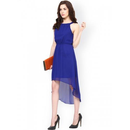 Harpa Blue Georgette Solid Asymmetric Dress
