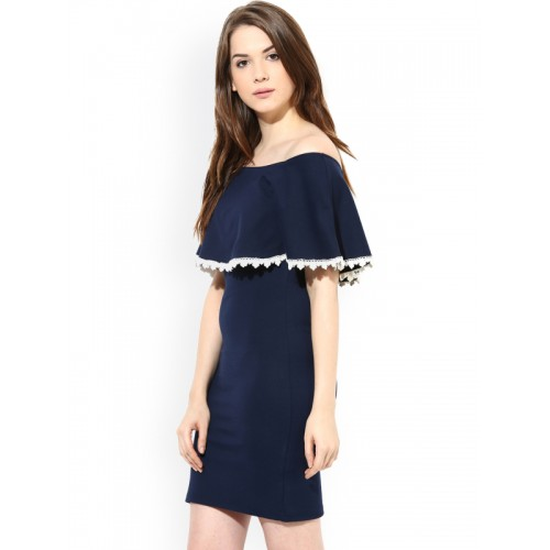Harpa Navy Off-Shoulder Dress
