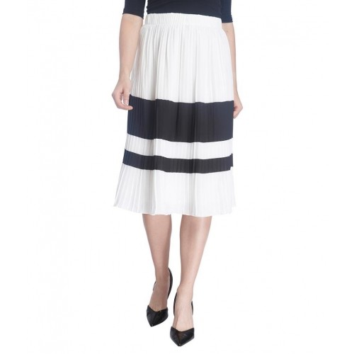 Vero Moda White Polyester Pleated Skirt