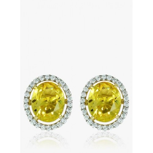 Zaveri Pearls Semi Precious Yellow Topaz Cubic Zirconia Oval Shape Stud Earrings Zpfk5090