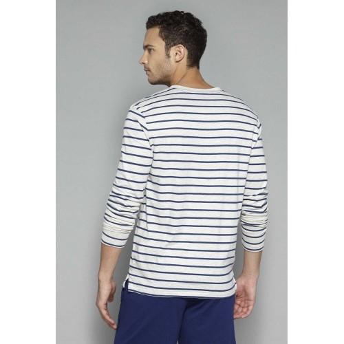 Bodybasics by Westside Off White Striped T Shirt