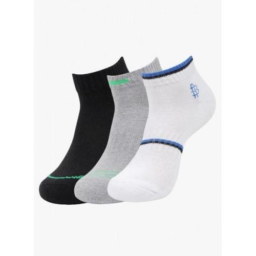 Bonjour Multicolor Cotton Cushioned Secret Length Pack of 3 Sports Socks