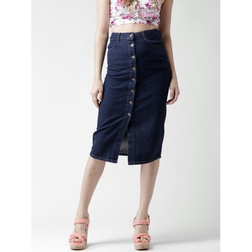 77fc2ea07b3ac7 Buy New Look Navy Blue Button-Down Denim A-Line Midi Skirt online ...