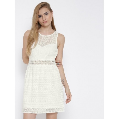 56a2a3c63c4 Buy FOREVER 21 White Lace Fit   Flare Dress For Women online ...