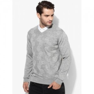 Raymond Grey Acrylic Wool Solid Slim Fit Sweater
