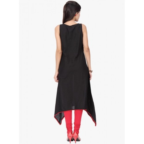 4ab42de2d1 Buy Black Coloured Cotton Plain Party Wear Kurti For Women online ...