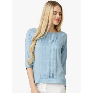 Marie Claire Blue coloured Solid Blouse