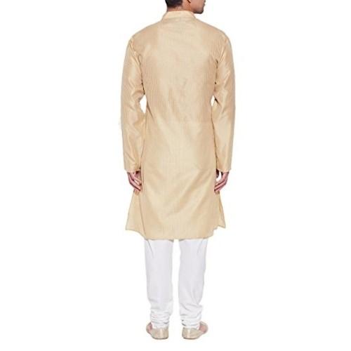 ShalinIndia Beige Striped Faux Silk Kurta