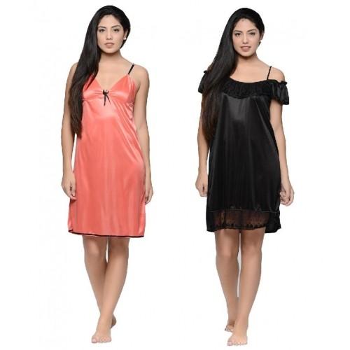kosten charm Kostenloser Versand zu Füßen bei Buy Combo of 2 Klamotten Orange Satin Baby Doll Dresses ...