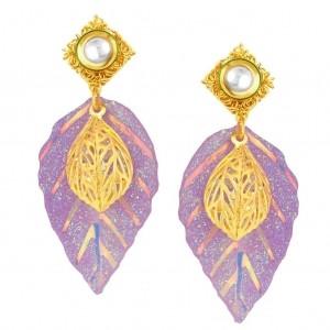 Sukkhi Leaf Shape Gold Plated Kundan Earrings