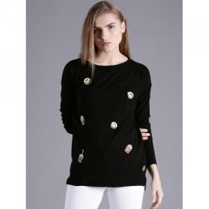 Kook N Keech Black rayon Sweater For Women