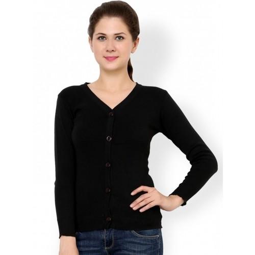 Renka Black Long Sleeve V Neck Cardigan
