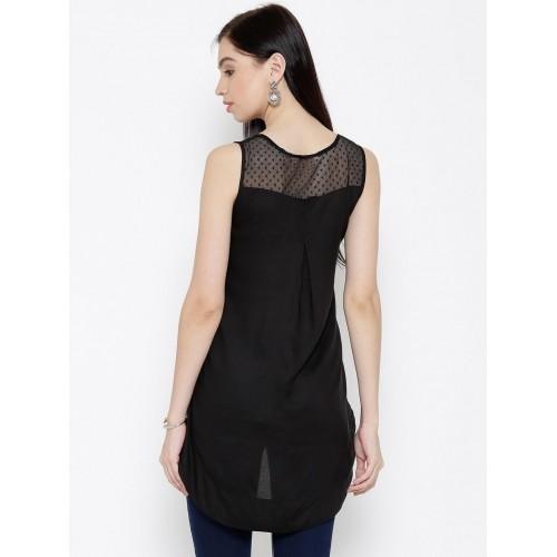 Biba Women Black Embroidered High-Low Top