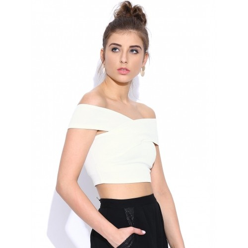 Veni Vidi Vici Off-White Polyester Off-Shoulder Crop Top