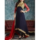 Fabfiza Navy Blue Georgette Dress Material